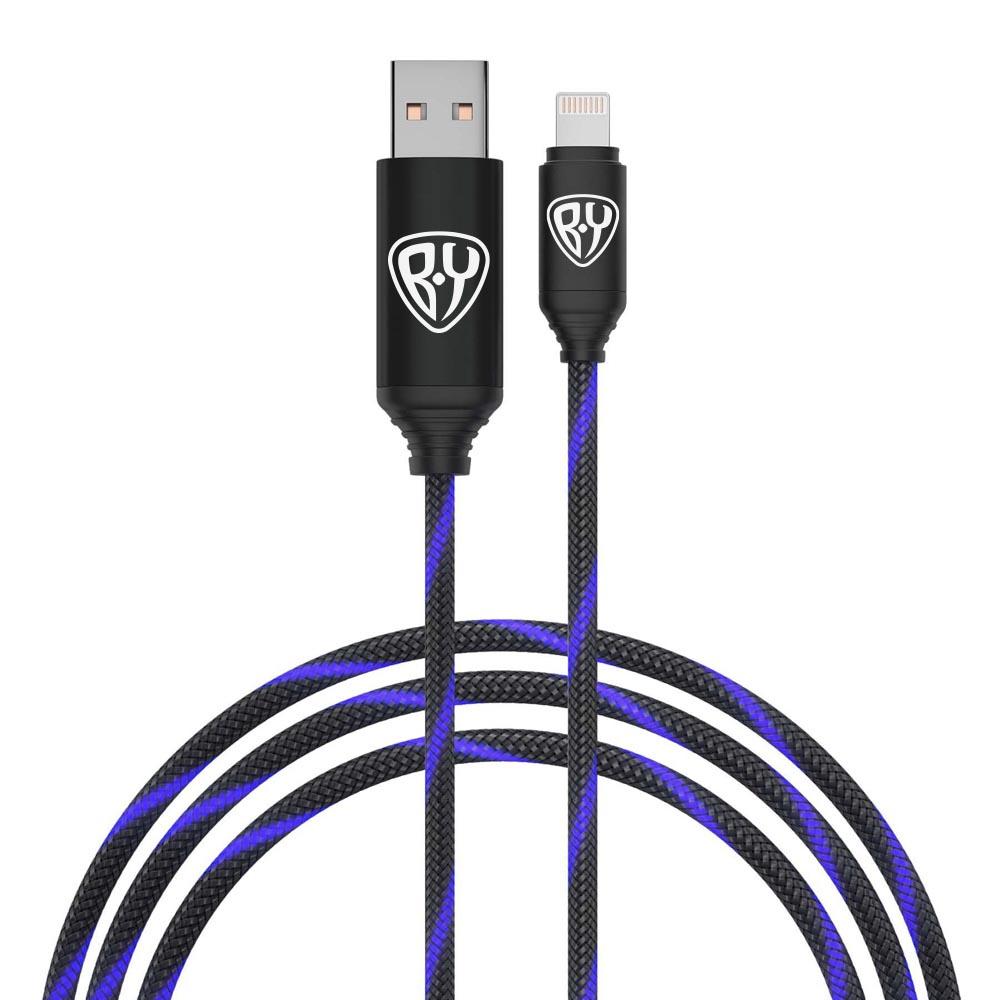 FORZA Кабель для зарядки армированный, штекер iP, быстрая зарядка, светящийся, 2.4А, пластик