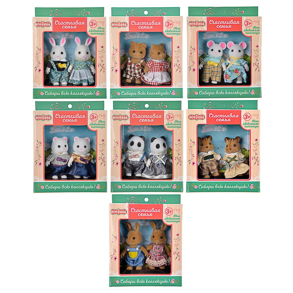 """ИГРОЛЕНД Набор фигурок коллекционных """"Счастливая семья"""", ABS, хб ткань, 13,5х17х4,5см, 7 дизайнов"""