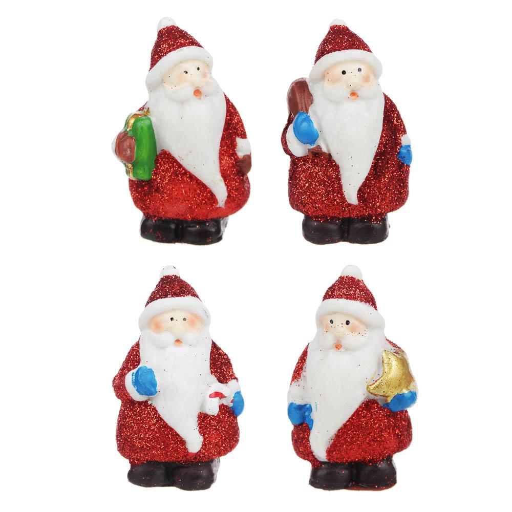 СНОУ БУМ Фигурка Деда Мороза, полистоун, 8,6х5,8х4,2см, 4 дизайна