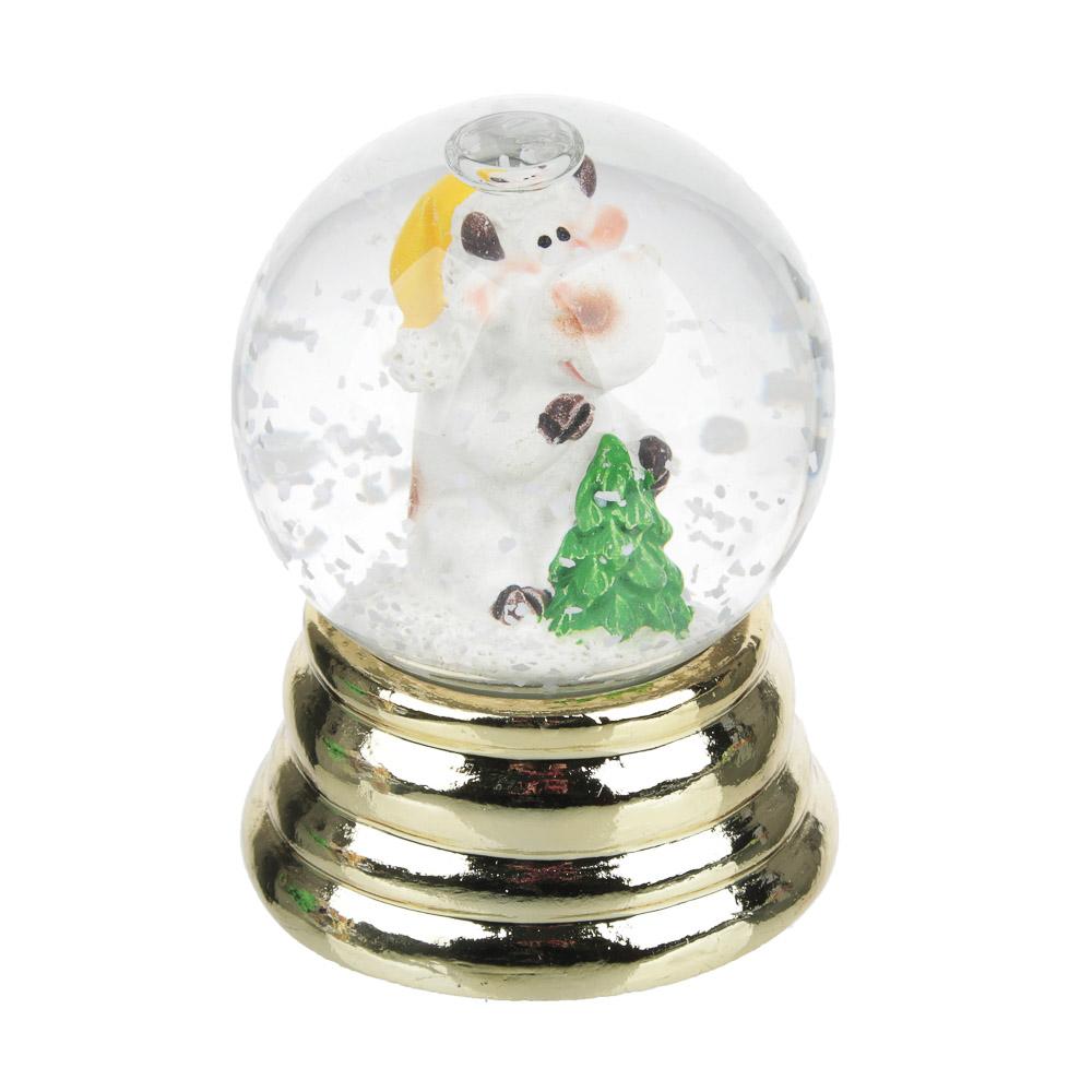 СНОУ БУМ Снежный шар Символ Года 2021 на золоте, полистоун, 6х4,5см, 3 дизайна