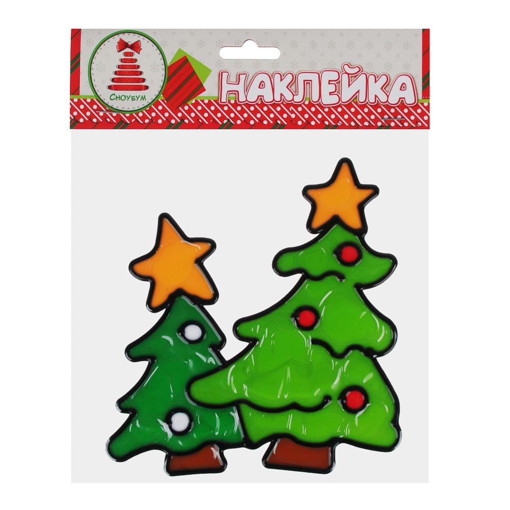 СНОУ БУМ Наклейка ПВХ  с изображением Снеговика, Деда Мороза и ёлки, 18х25см,4 дизайна