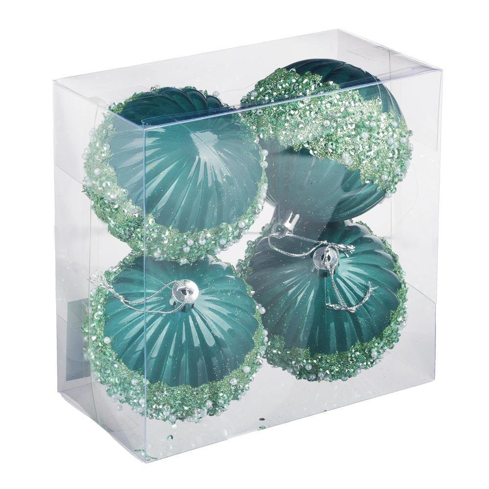 СНОУ БУМ Премиум Набор шаров с декором, 4 шт, 8см, пластик