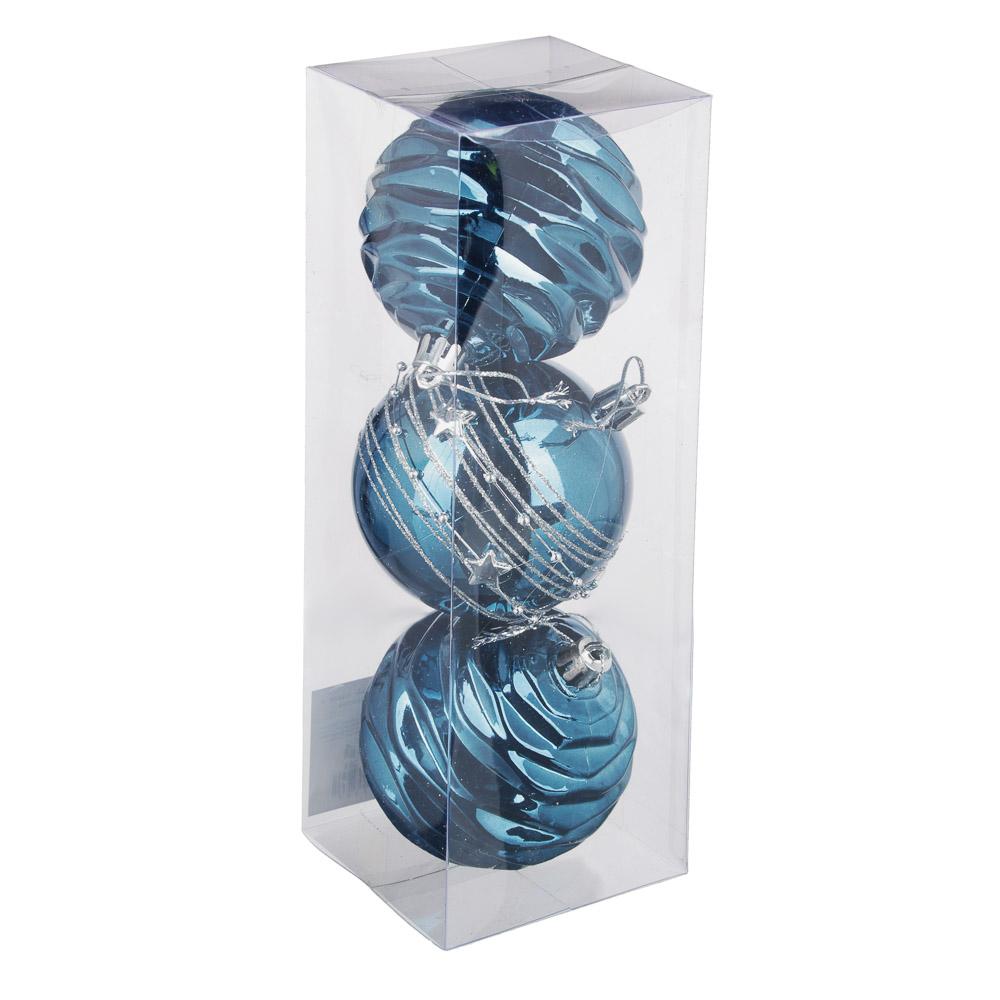 СНОУ БУМ Премиум Набор шаров с деколью, 3 шт, 8см, синий, пластик