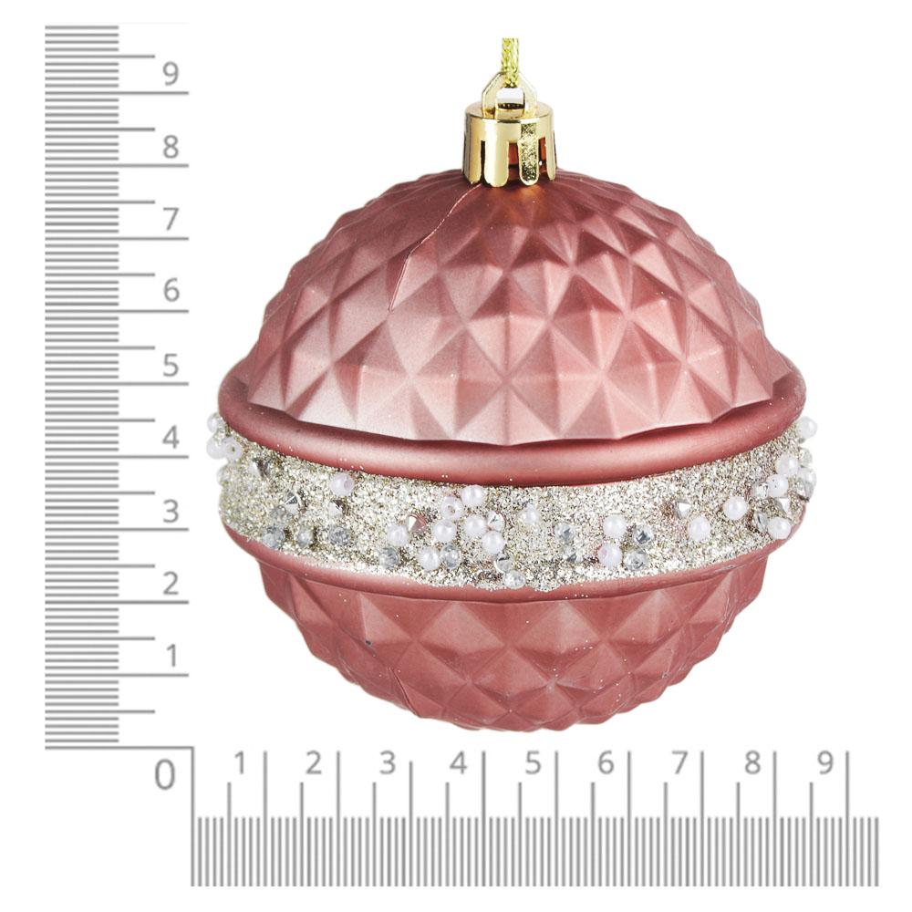 СНОУ БУМ Премиум Набор шаров с деколью, 3 шт, 8см, розовое золото, пластик
