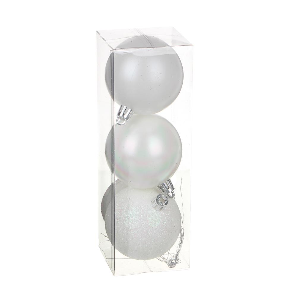 СНОУ БУМ Набор шаров с деколью, 3 шт, 6см, пластик, жемчужный перелив