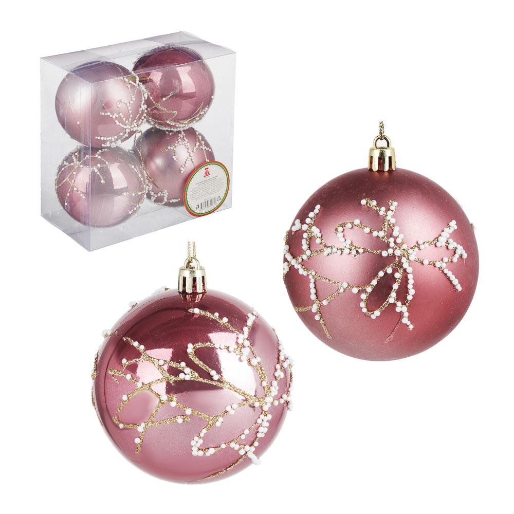 СНОУ БУМ Набор шаров с деколью, 4 шт, 8см, пластик, розовый