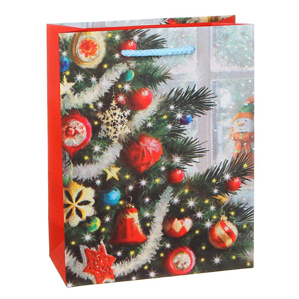 СНОУ БУМ Пакет подарочный, 18х23х8см, бумага высокого качества с глиттером, 6-12 диз.арт.2021-8