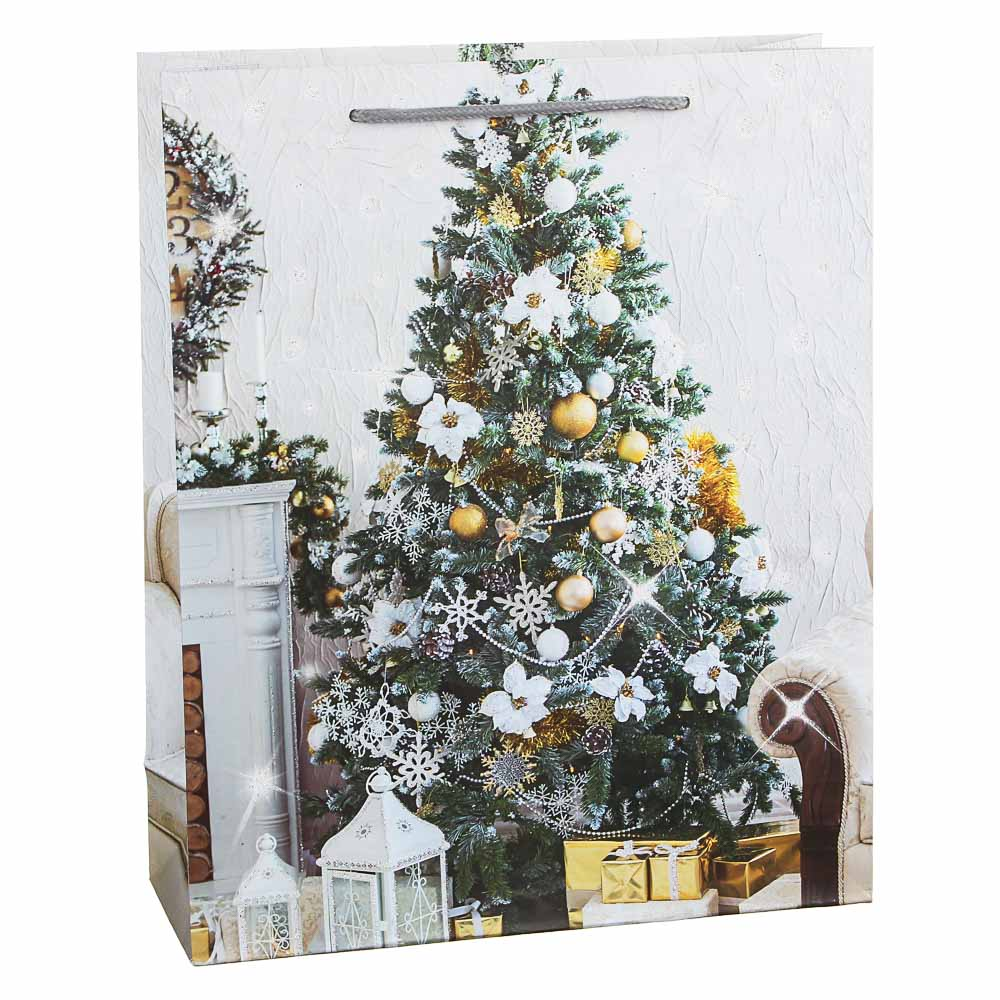 СНОУ БУМ Пакет подарочный, 26х32х10см, бумага высокого качества с глиттером, 6 дизайнов, арт.2021-11