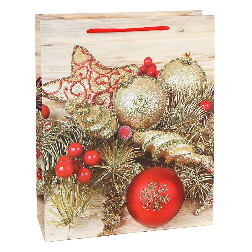 СНОУ БУМ Пакет подарочный, 26х32х10см, бумага высокого качества с глиттером, 12 диз., арт.2021-12