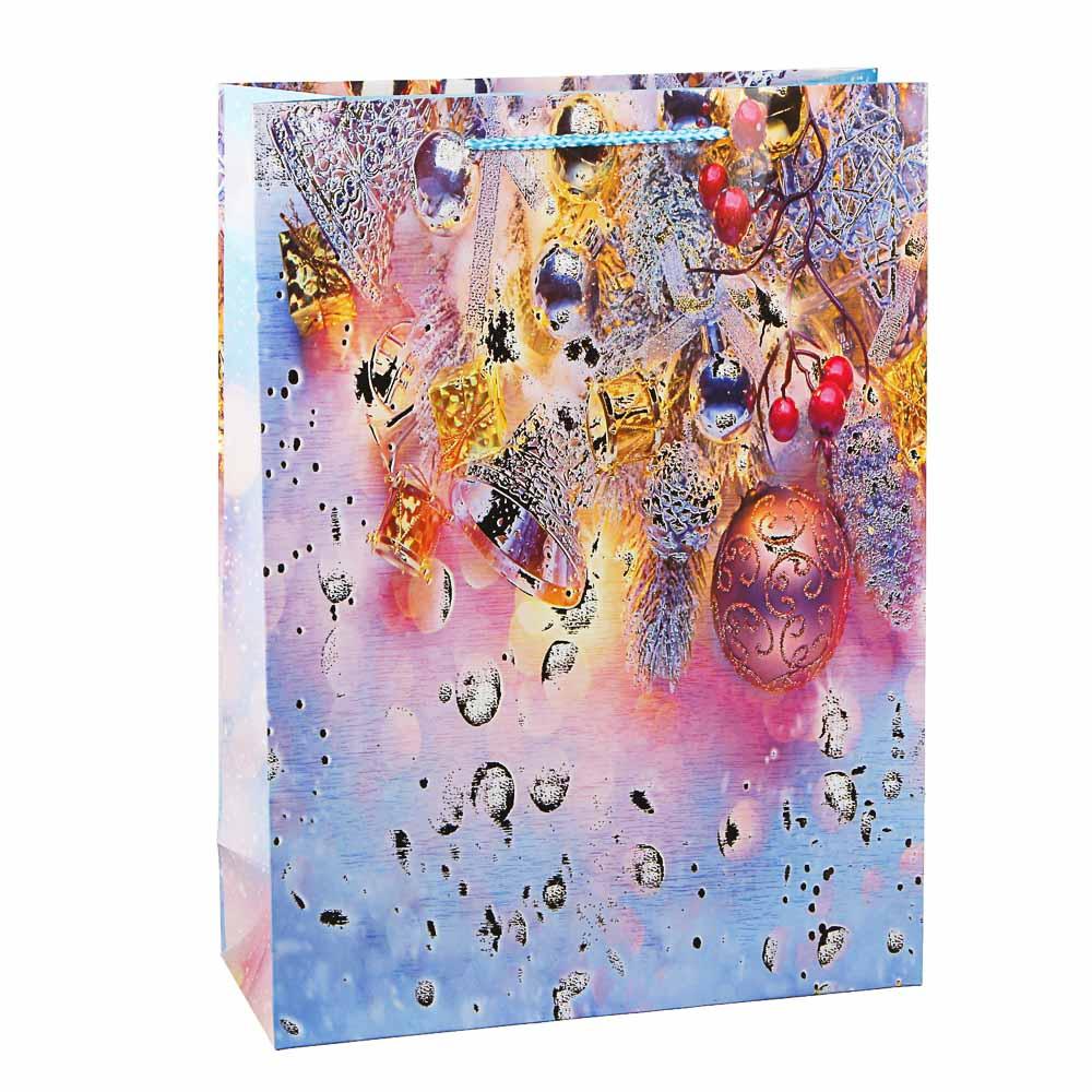 СНОУ БУМ Пакет подарочный, 31х42х12см, бумага высокого качества, глиттер, 8-12 дизайнов арт 2021-011