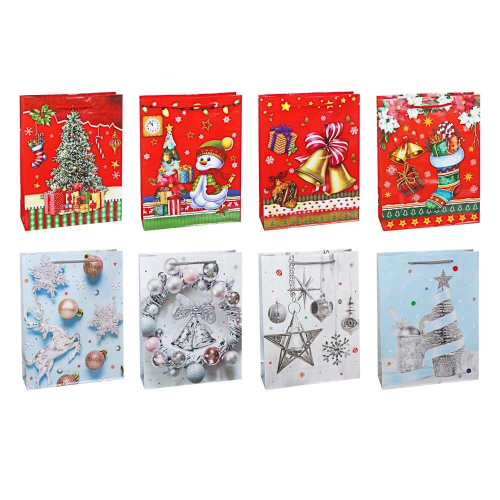 СНОУ БУМ Пакет подарочный, 30х23х8см, бумага, 8 дизайнов, арт.2021-19