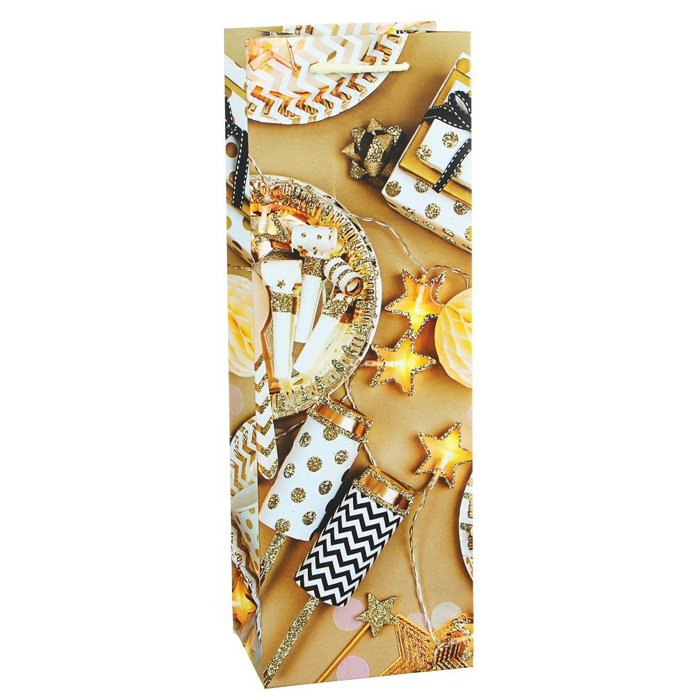 СНОУ БУМ Пакет подарочный, 12х35х9см, бумага высокого качества с глиттером, 16 дизайнов, арт.2021-20