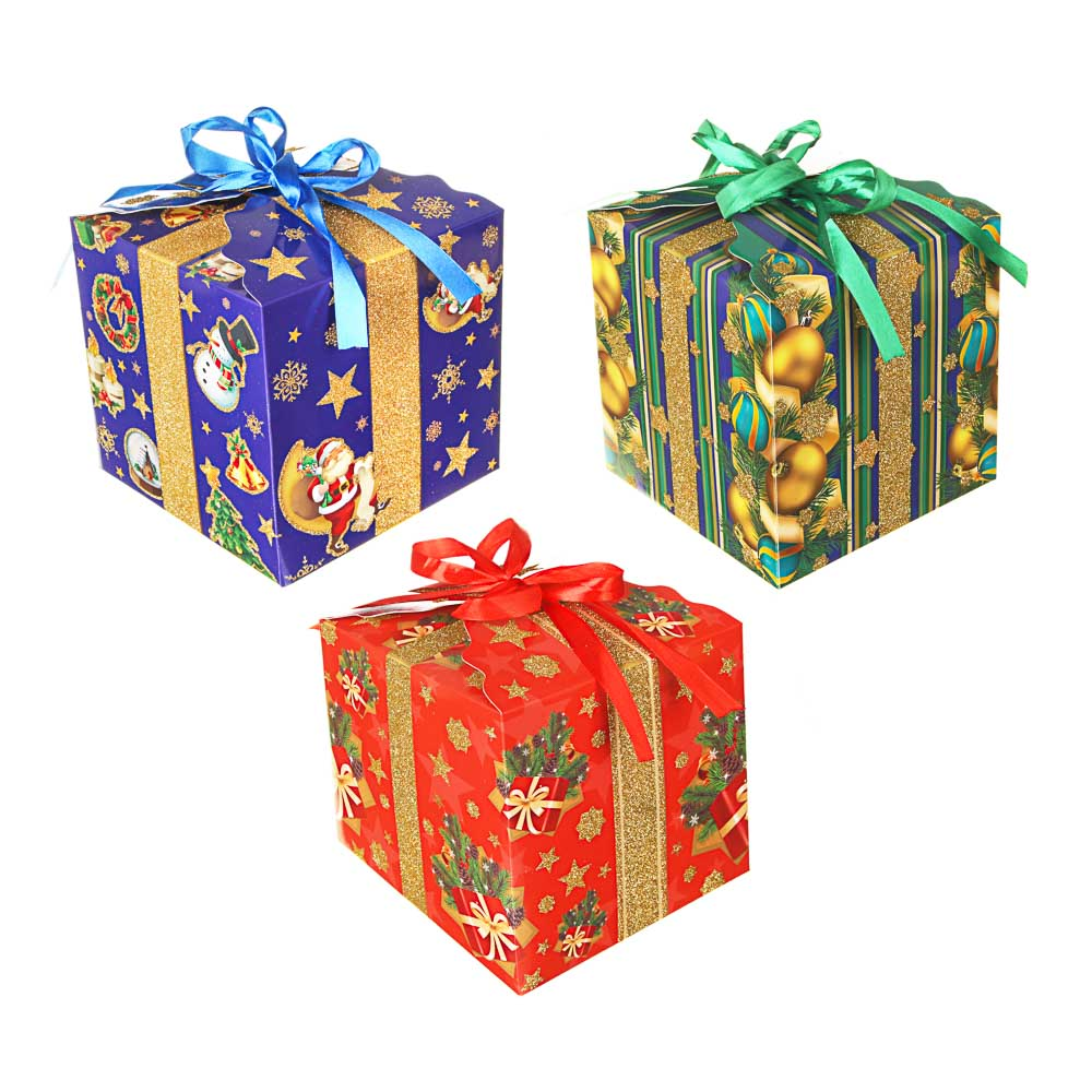 СНОУ БУМ Коробка подарочная, с глиттером, 17,5х17,5х17,5см, бумага, 3 дизайна, арт.2021-01