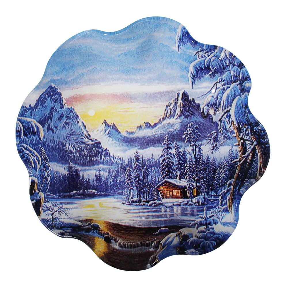 Зимняя сказка Салатник круглый 23х4,5см, стекло