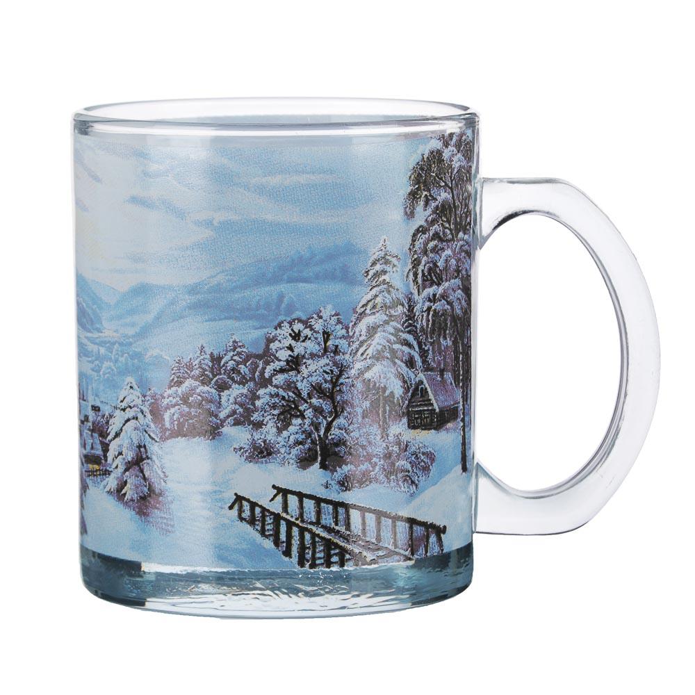 Зимняя сказка Кружка 320мл, стекло, 3 дизайна