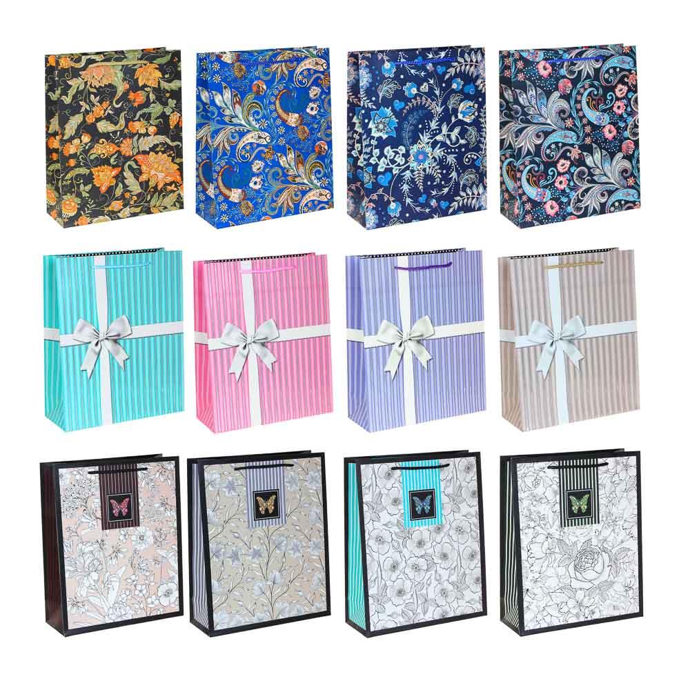 Пакет подарочный, высококачеств.бумага, глиттер, тиснение фольгой, 26х32х10см, 12 дизайнов, арт.1