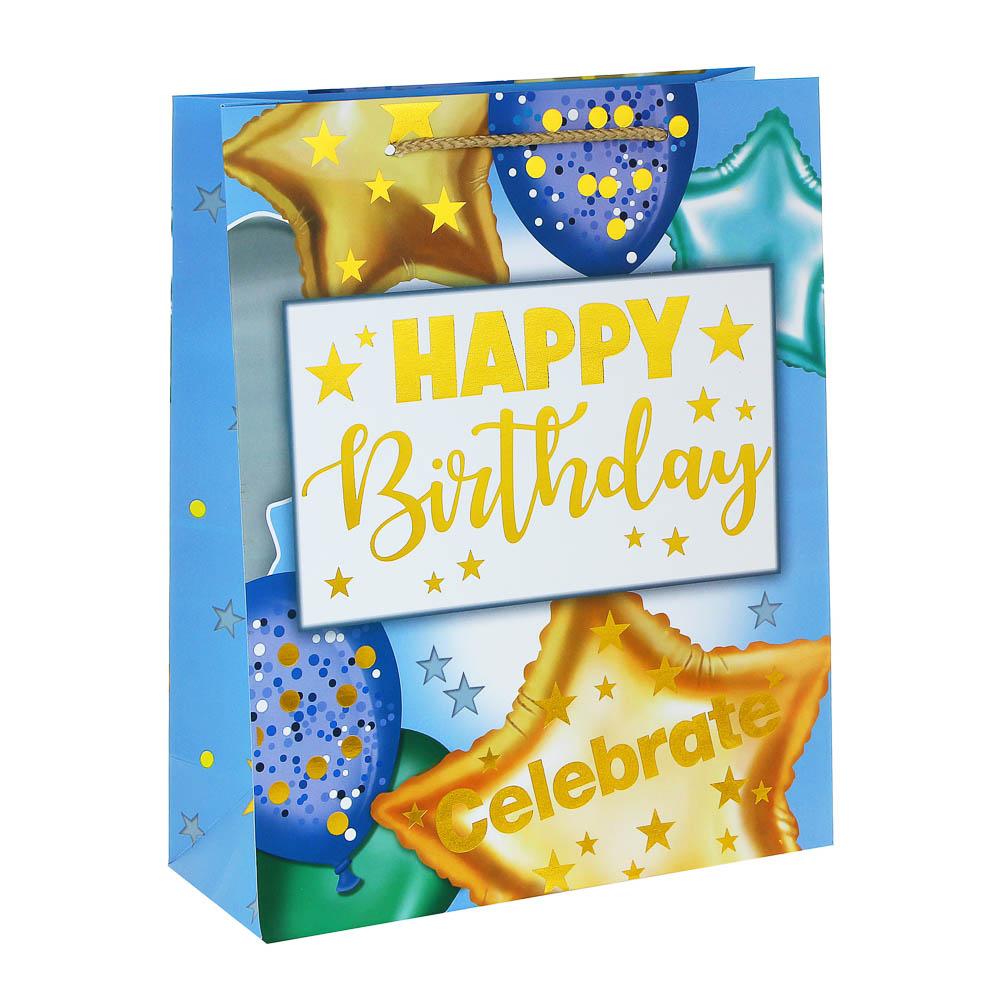 Пакет подарочный, высококачеств.бумага, глиттер, тиснение фольгой, 26х32х10см, 12 дизайнов, арт.3