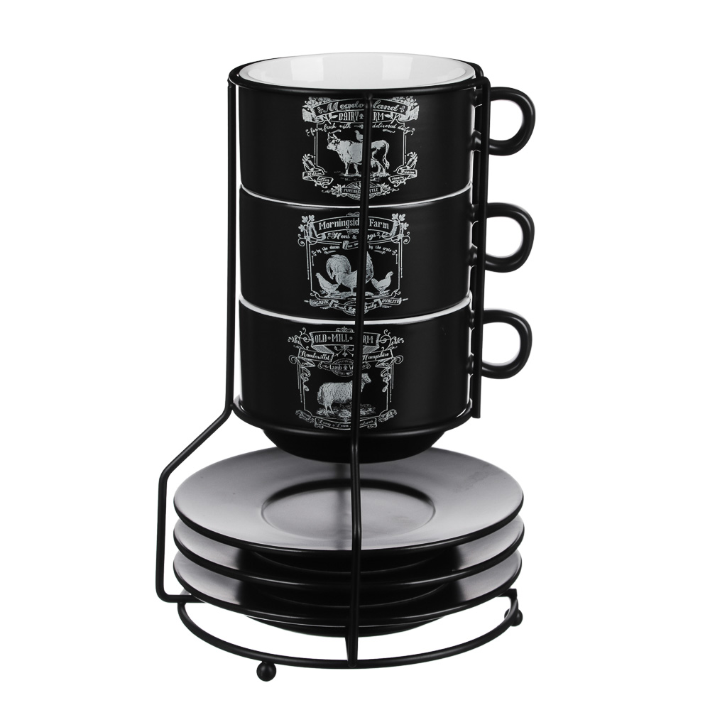 MILLIMI Ранчо Набор чайный 6 пр. на метал. подст, 16х16х24,5см, чаш. 260мл, блюд. 15см, керамика