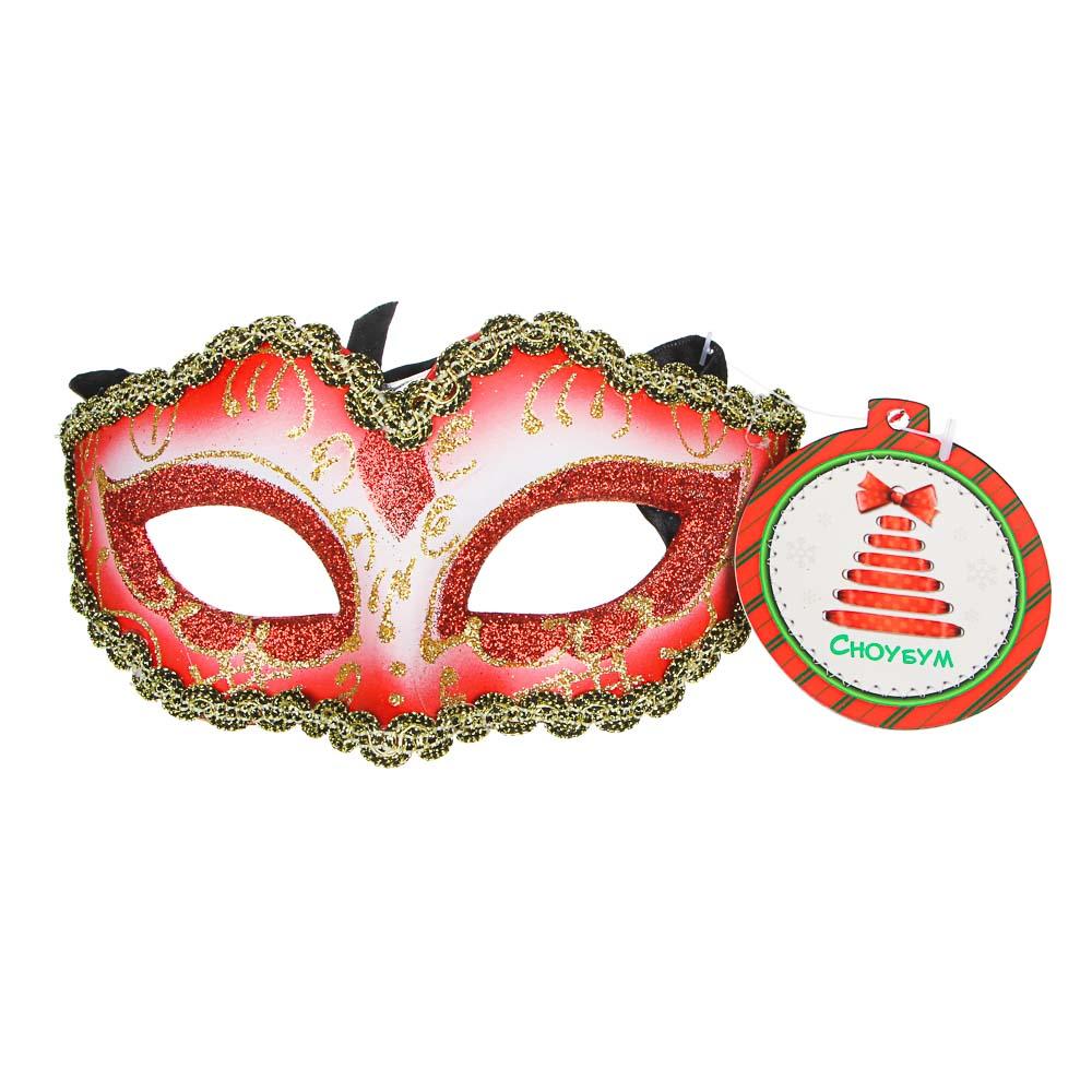 СНОУ БУМ Маска карнавальная, 14,5х7,5см, пластик, 6 цветов