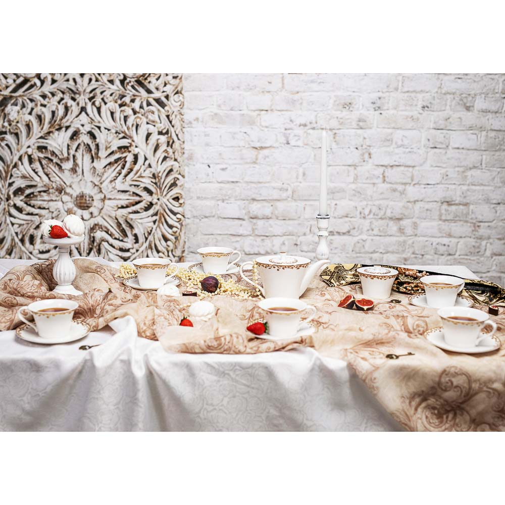 MILLIMI Виконт Набор чайный 14 пр., чашка 270мл, чайник 650мл, сахарница 230мл, кост. фрф