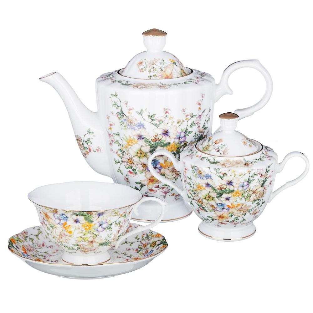 MILLIMI Версаль Набор чайный 14 пр., чашка 240мл, чайник 1350мл, сахарница 400мл, кост. фрф