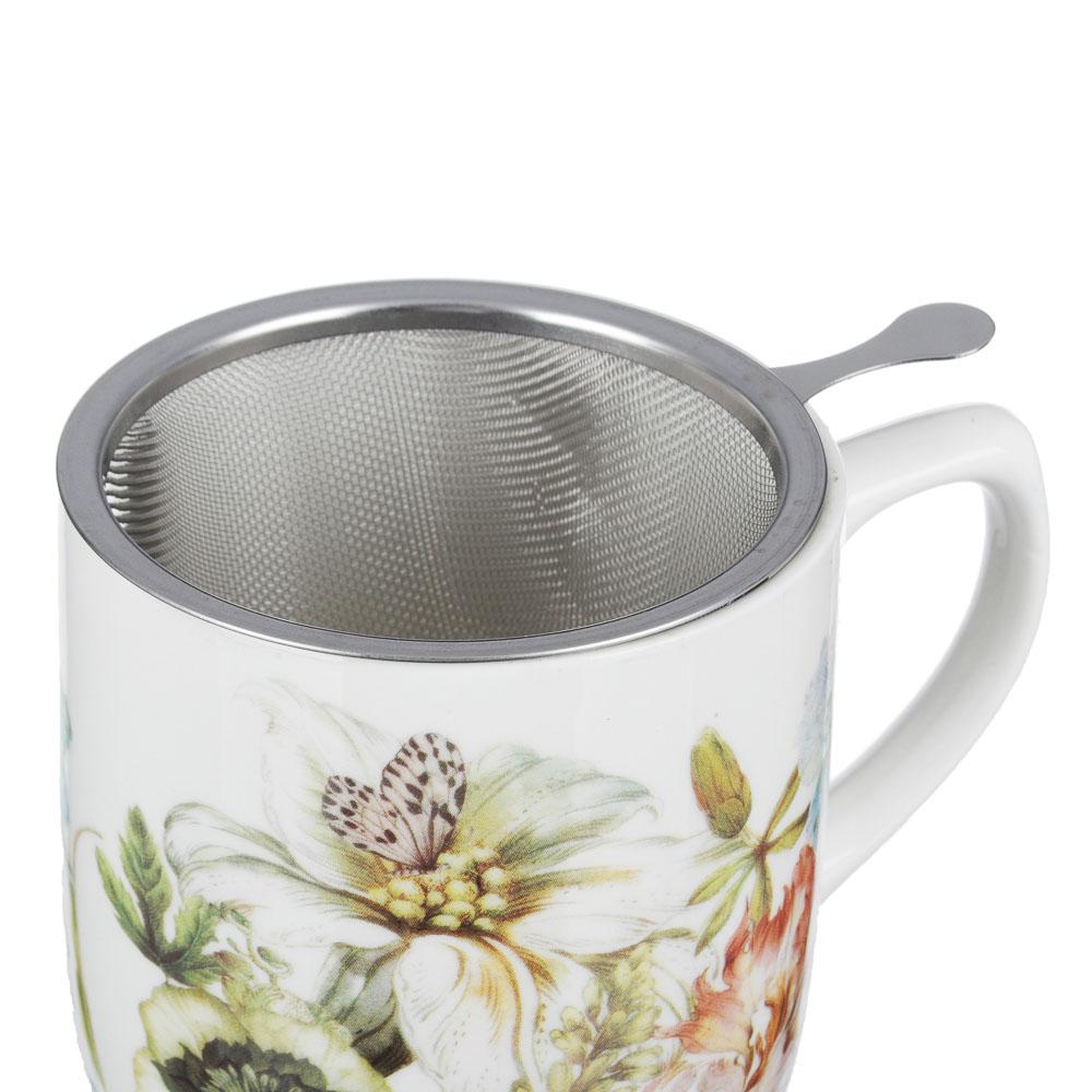 MILLIMI Волшебные цветы Кружка заварочная с метал. ситечком 360мл, кост.фрф, 4 дизайна, подар.упак.