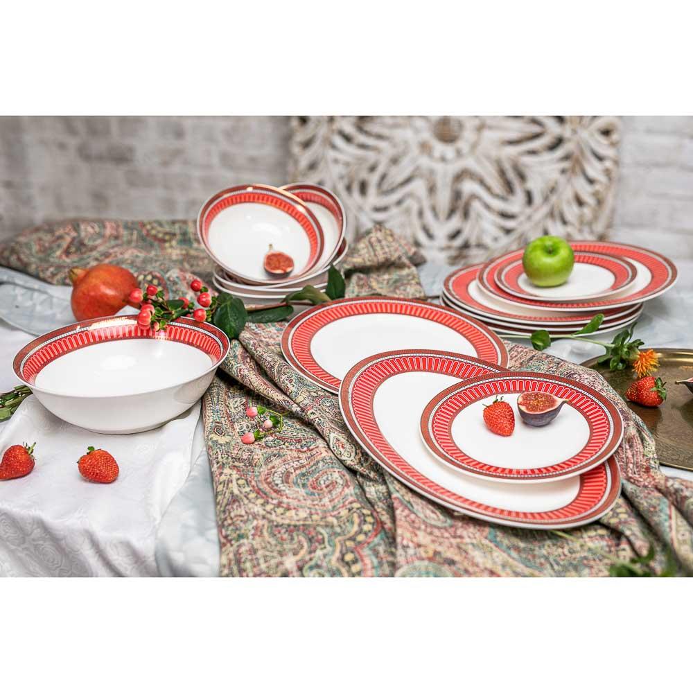 MILLIMI Красный Монфор Сервиз столовый 21пр, костяной фарфор