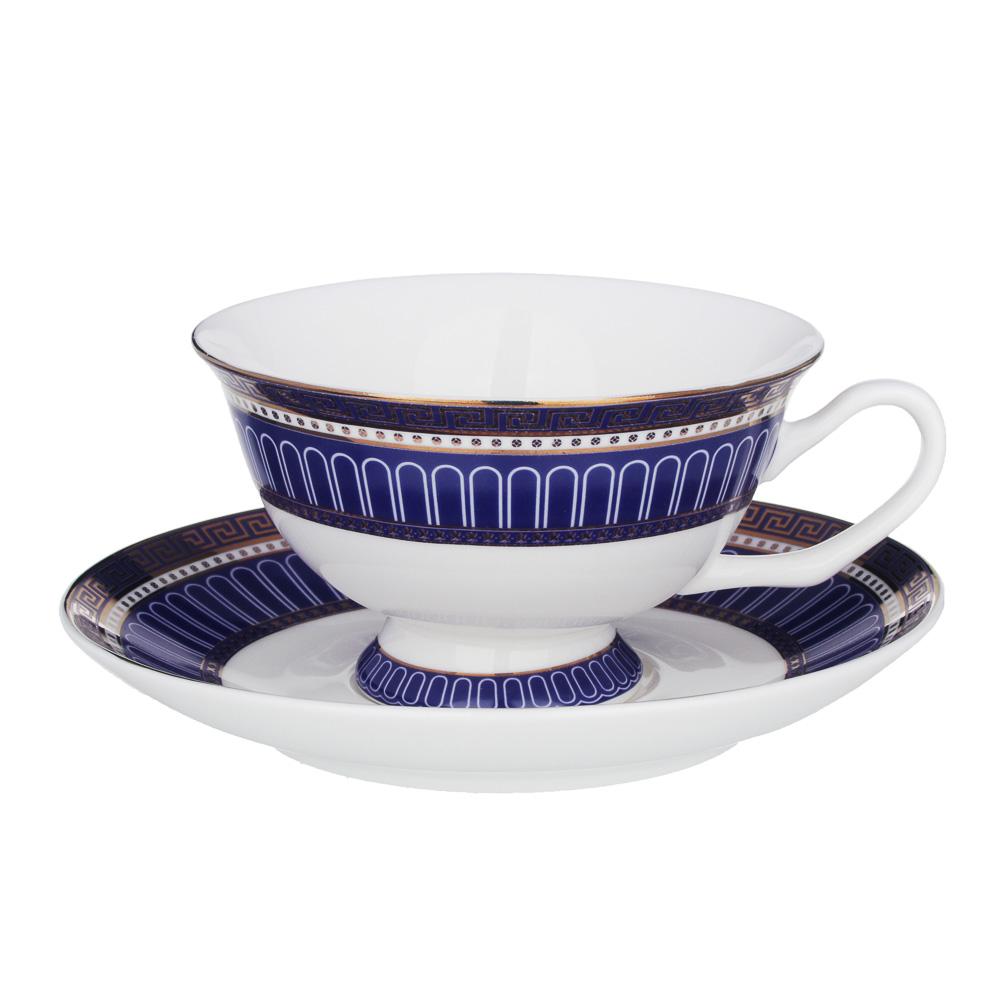 MILLIMI Синий Монфор Набор чайный 14пр, чашка 210 мл, чайник 1100 мл, сахарница 310 мл, кост. фрф