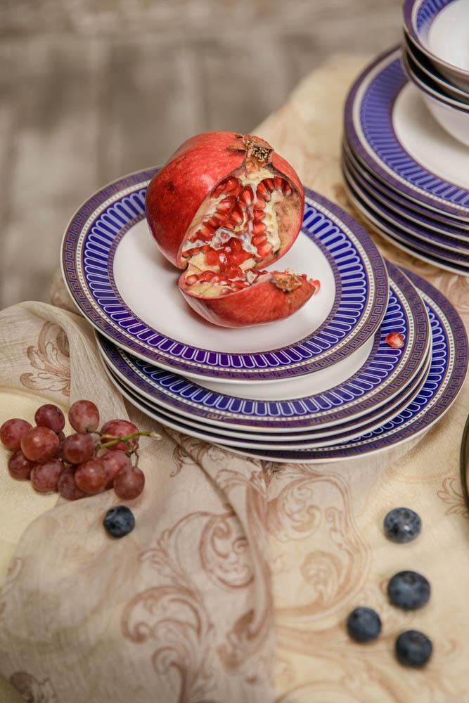 MILLIMI Синий Монфор Сервиз столовый 21пр, костяной фарфор