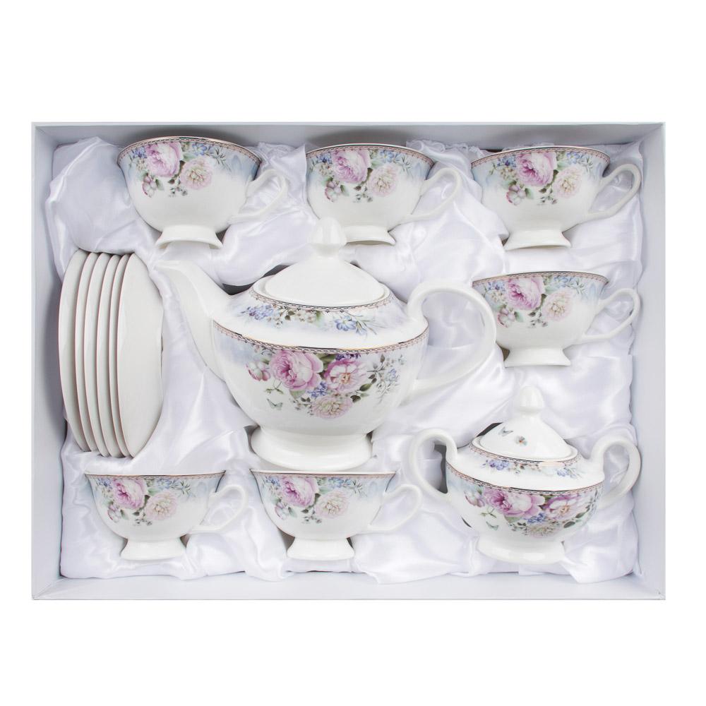 MILLIMI Фредерика Набор чайный 14пр, чашка 210 мл, чайник 1100 мл, сахарница 310 мл, кост. фрф