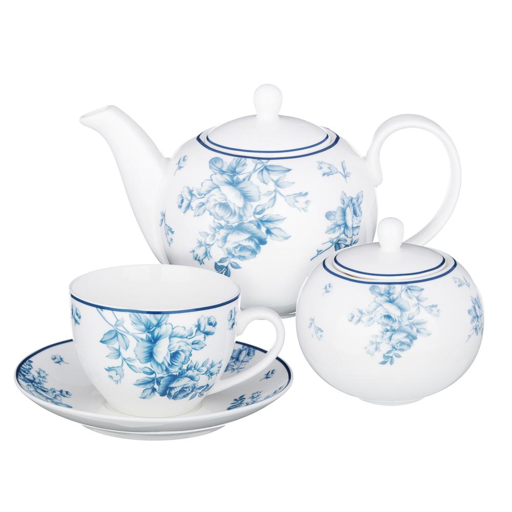 MILLIMI Амберли Набор чайный 14пр, чашка 270 мл, чайник 1100 мл, сахарница 400 мл, кост. фрф