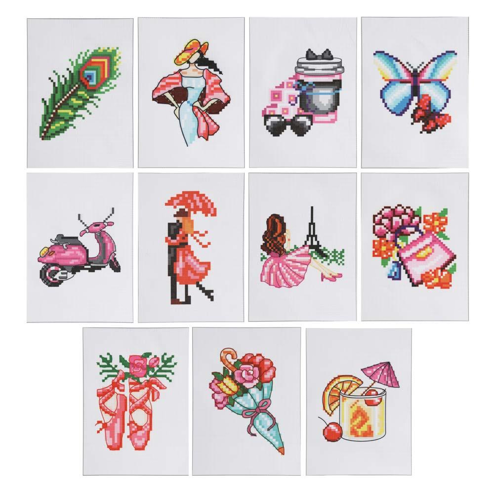 Набор для вышивания крестиком, канва, нити, игла, 20x27,5см, 12 дизайнов