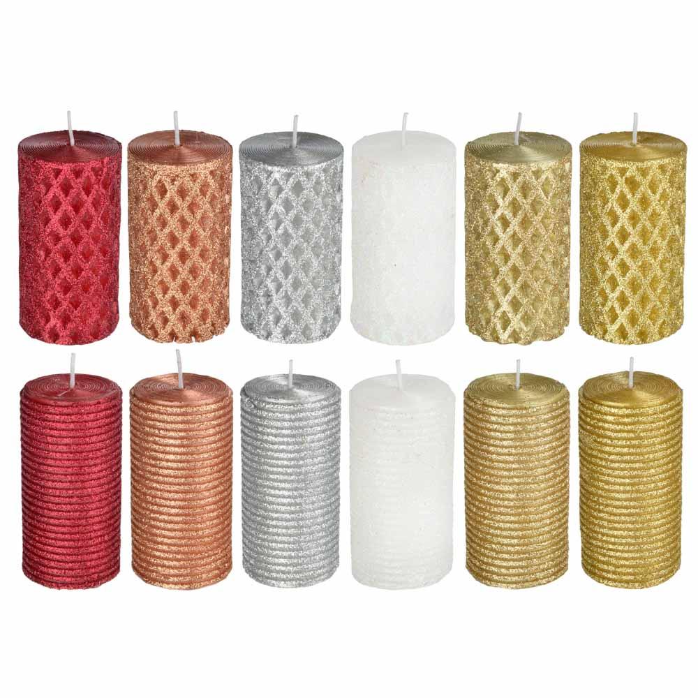 Свеча пеньковая, парафин, 5x9,5см, 12 дизайнов
