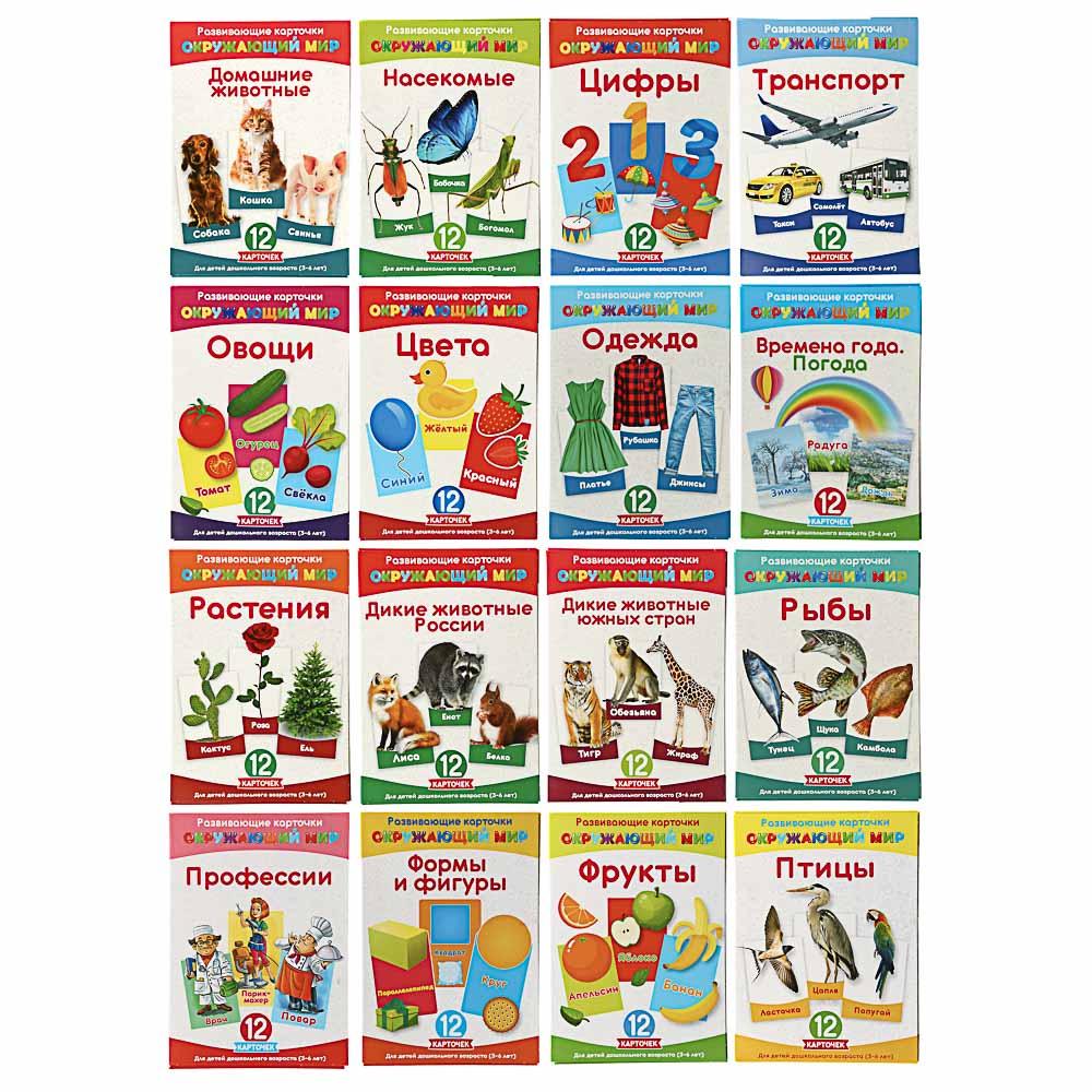 """Карточки развивающие """"Окружающий мир"""" картон, 15х21,5см, 16 дизайнов"""