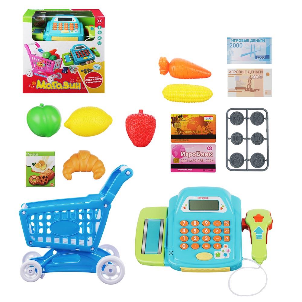 ИГРОЛЕНД Набор Магазин: касса,продукты, тележка,22пр, свет, звук, 2хАА,ABS,PVC,24х12х24см, 2 дизайна