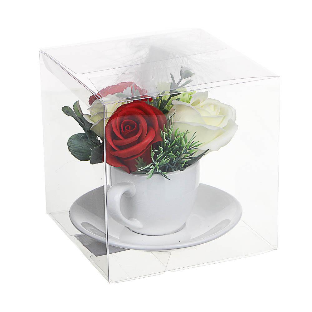 LADECOR Букет из мыльных лепестков в керамической чашке с блюдцем, 12,5х11,5см, 4 цвета