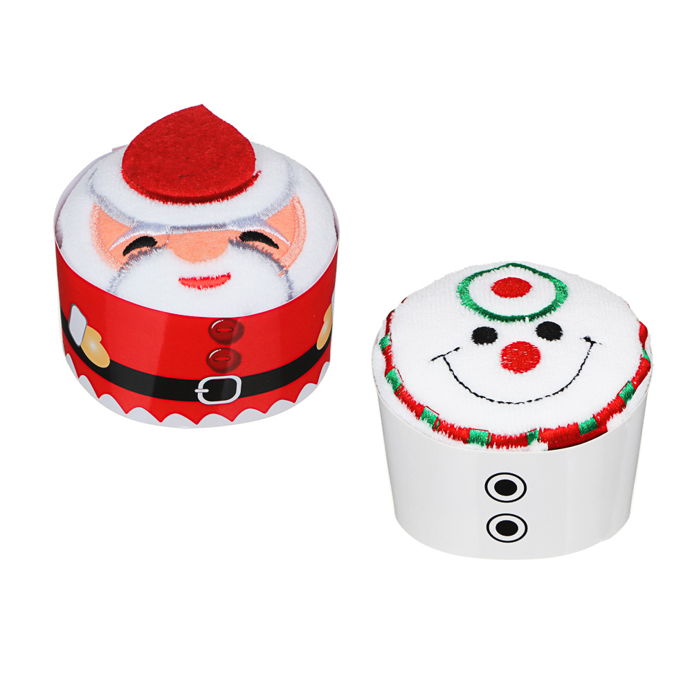 Полотенце подарочное с вышивкой, микрофибра, 30х30см, с Дедом Морозом и Снеговиком, 8,5х6,5см