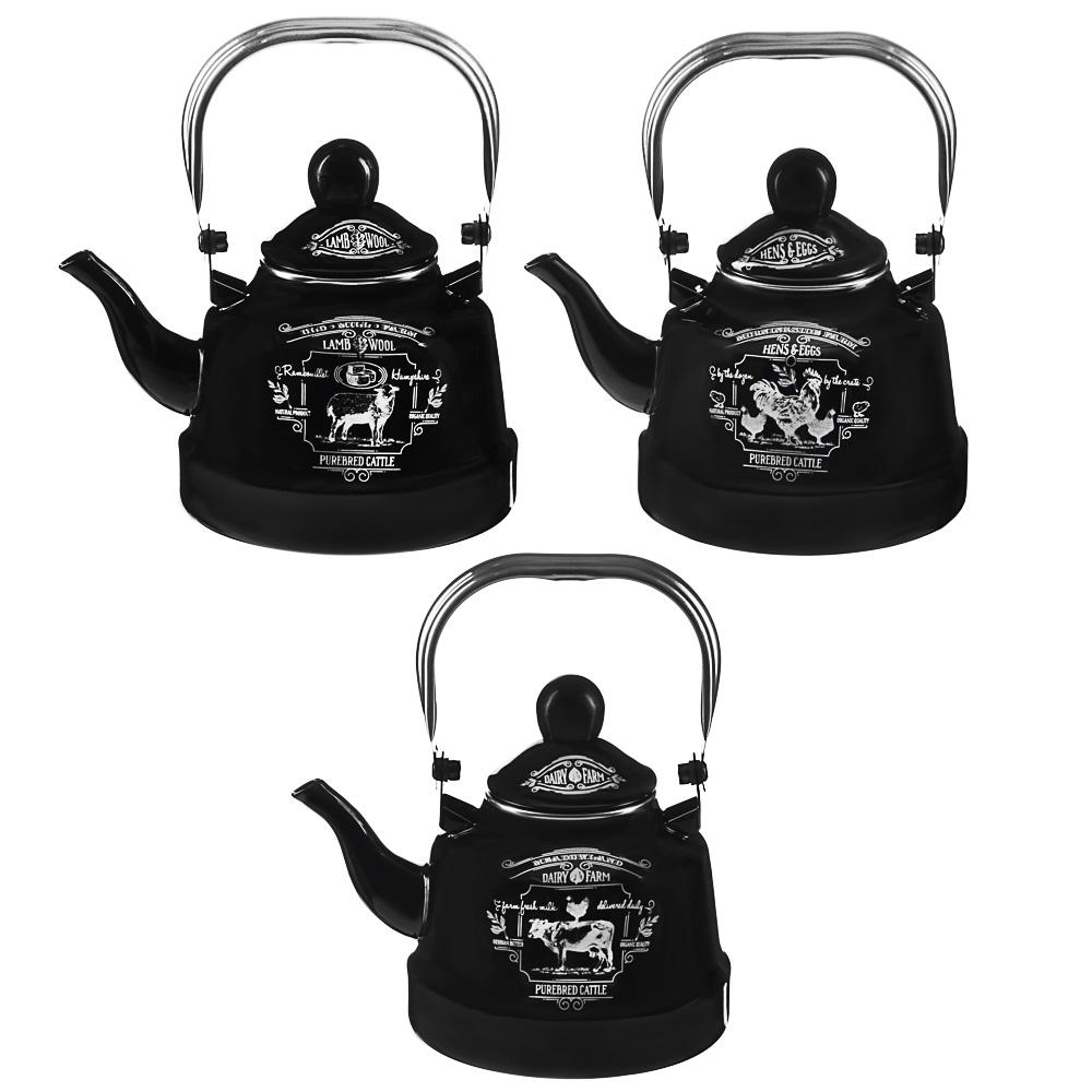 VETTA Ранчо Чайник эмалированный 1,1 л, 3 дизайна, индукция