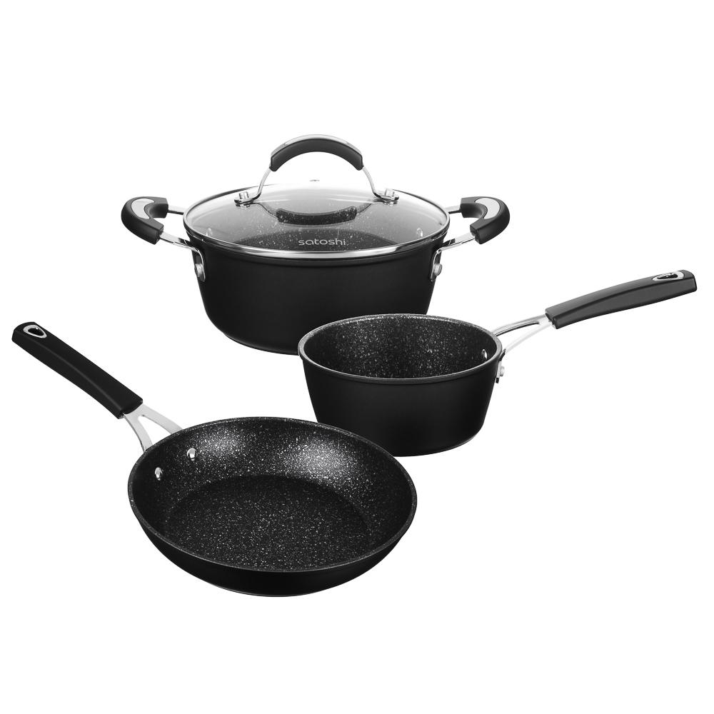 SATOSHI Ортез Набор посуды 4пр, сковорода 24см, ковш 16см, кастрюля 20см,крышка,а/приг.покр,индукция