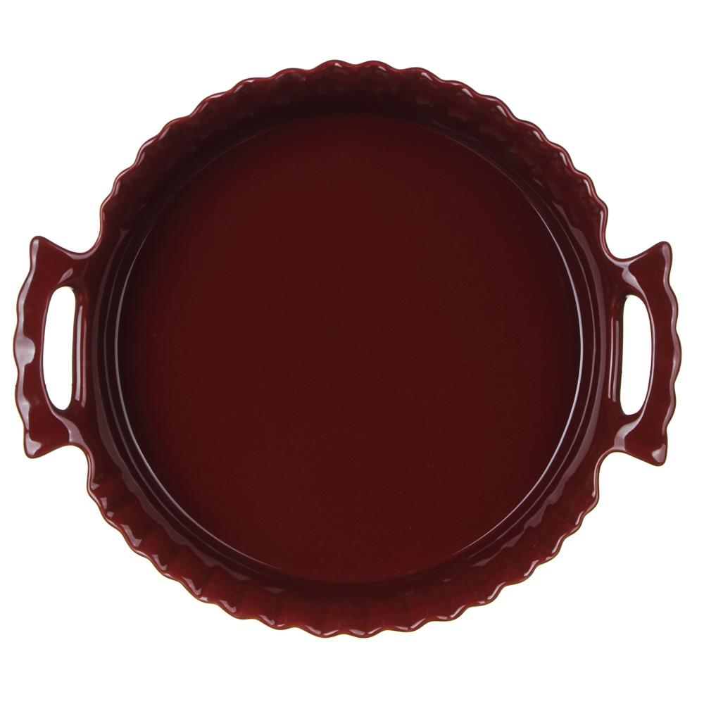 MILLIMI Форма для запекания и сервировки круглая с ручками, керамика, 30х26,5х6,5см, бордо