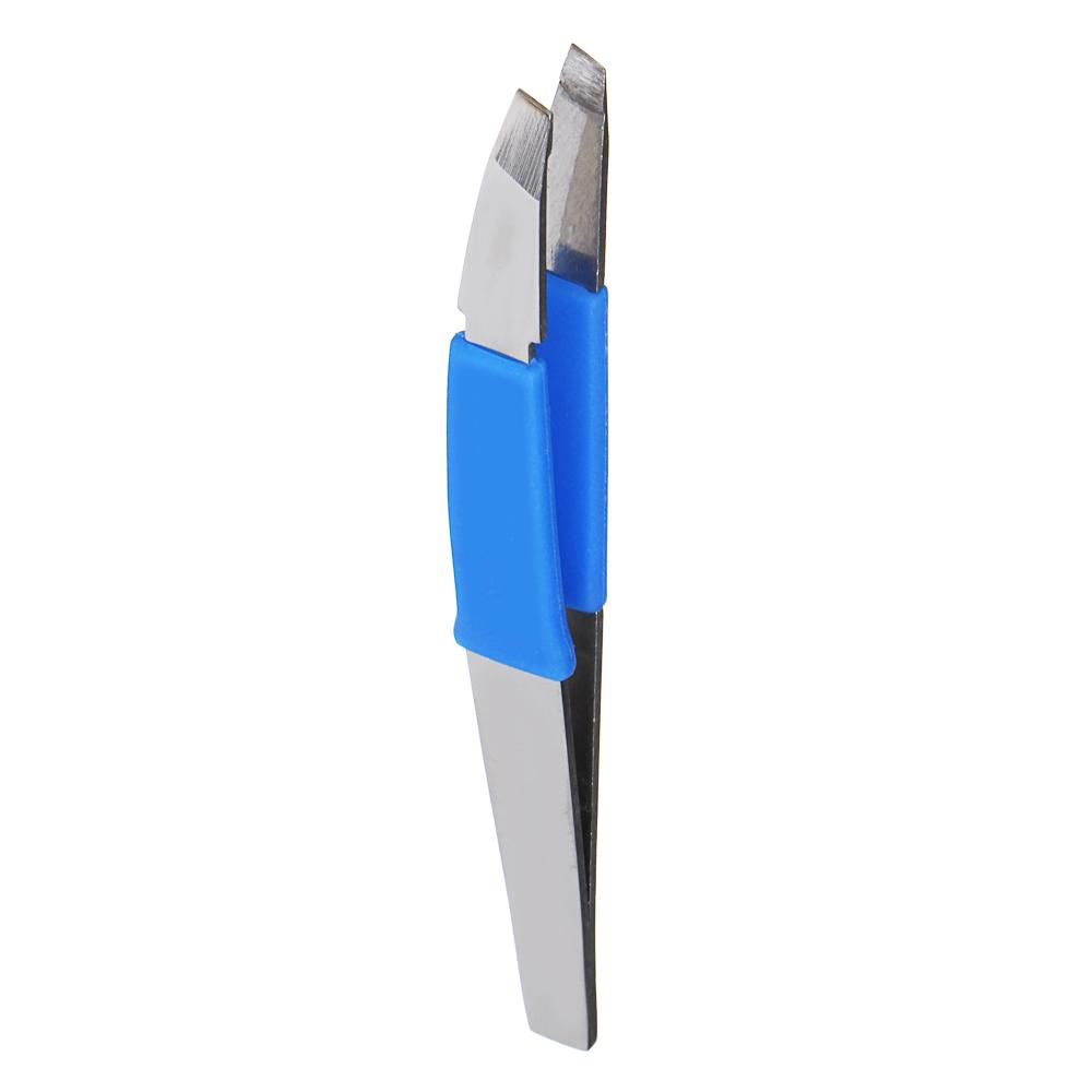 ЮниLook Пинцет для бровей с силиконовыми держателями, нерж.сталь, 9,3см, 3 цвета