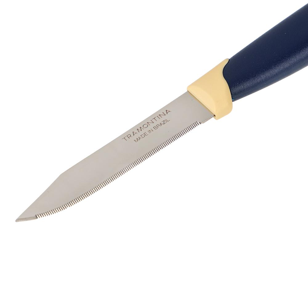 Tramontina Multicolor Нож кухонный с зубцами 8см, блистер, цена за 2шт., 23528/213