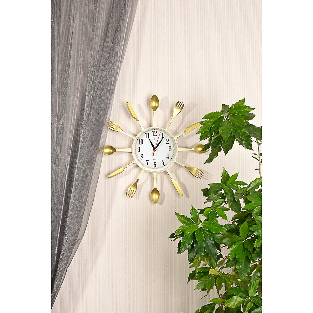Часы настенные, 33см, пластик, в декоративной раме Вилки-ложки