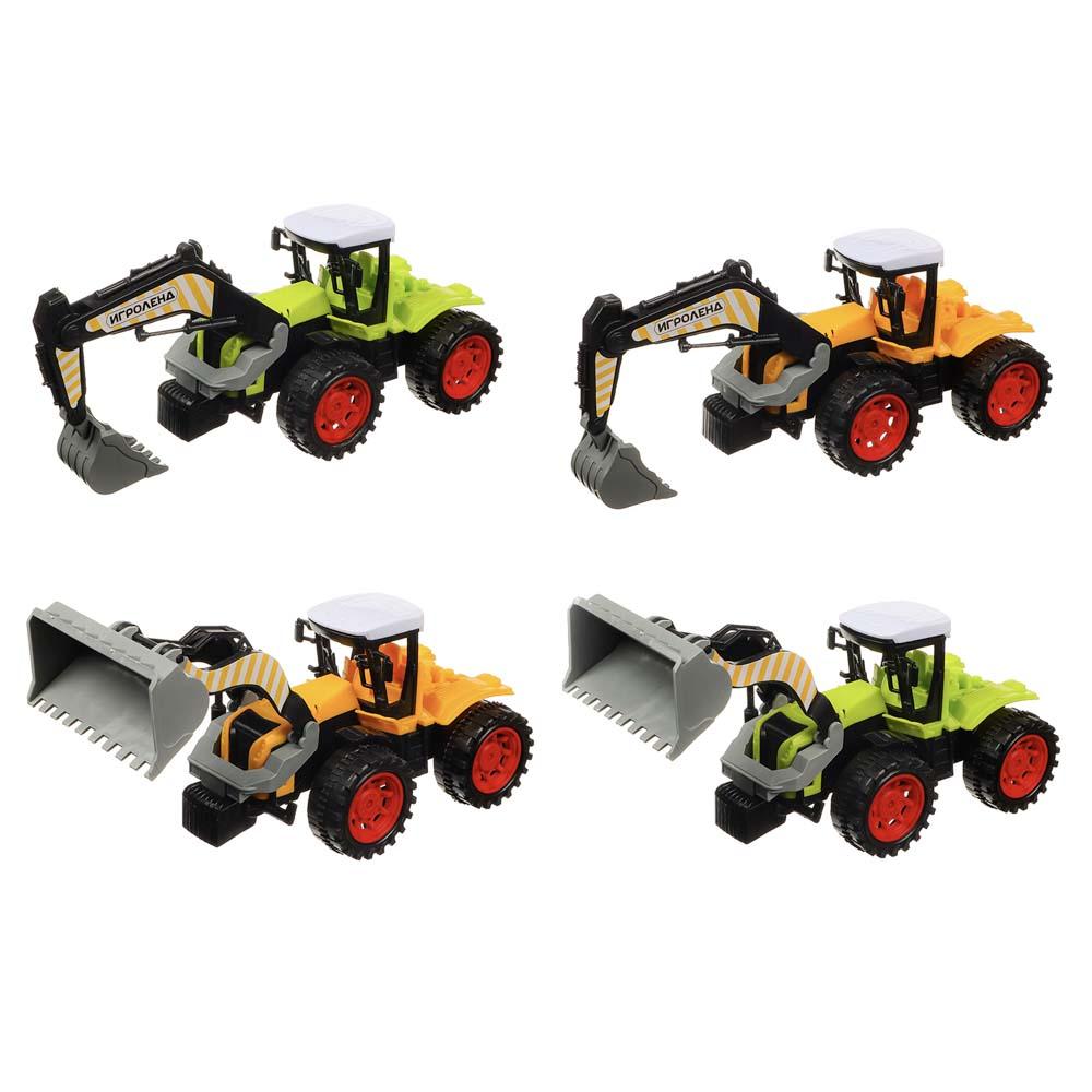 ИГРОЛЕНД Машина в виде Трактора, инерционного, пластик, 27х11х12см, 4 дизайна
