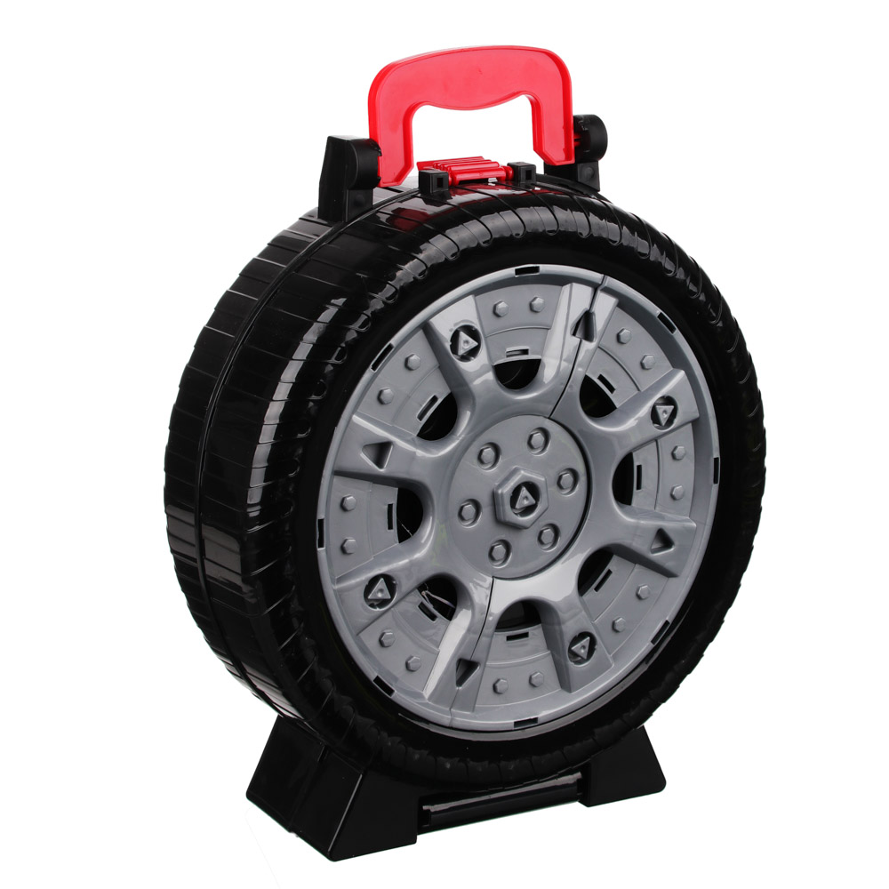 ИГРОЛЕНД Набор игровой Автопарковка в чемодане-колесе, 21 пр., ABS, 28х36х10,5см