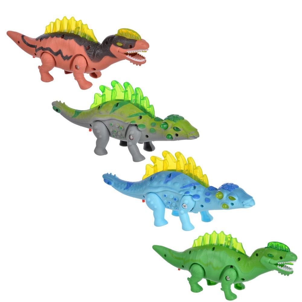 ИГРОЛЕНД Игрушка в виде динозавра, звук, свет, движение., ABS, 3АА, 24х10х6см, 4 дизайна
