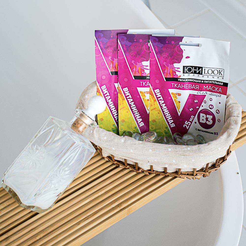 Маска для лица тканевая ЮниLook, увлажняющая и питательная, с витамином В3, 25 мл