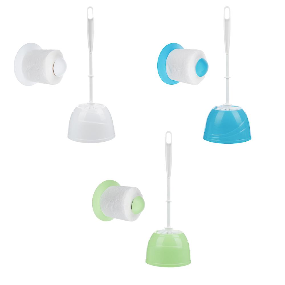 """Набор для туалета 2 пр. """"Классика"""" (ёрш, держатель для туалетной бумаги), пластик, 3 цвета"""