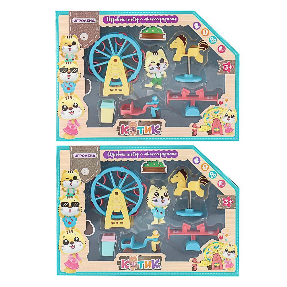 ИГРОЛЕНД Игровой набор в виде котика с аксессуарами, 6пр., ABS, 25х18х5,