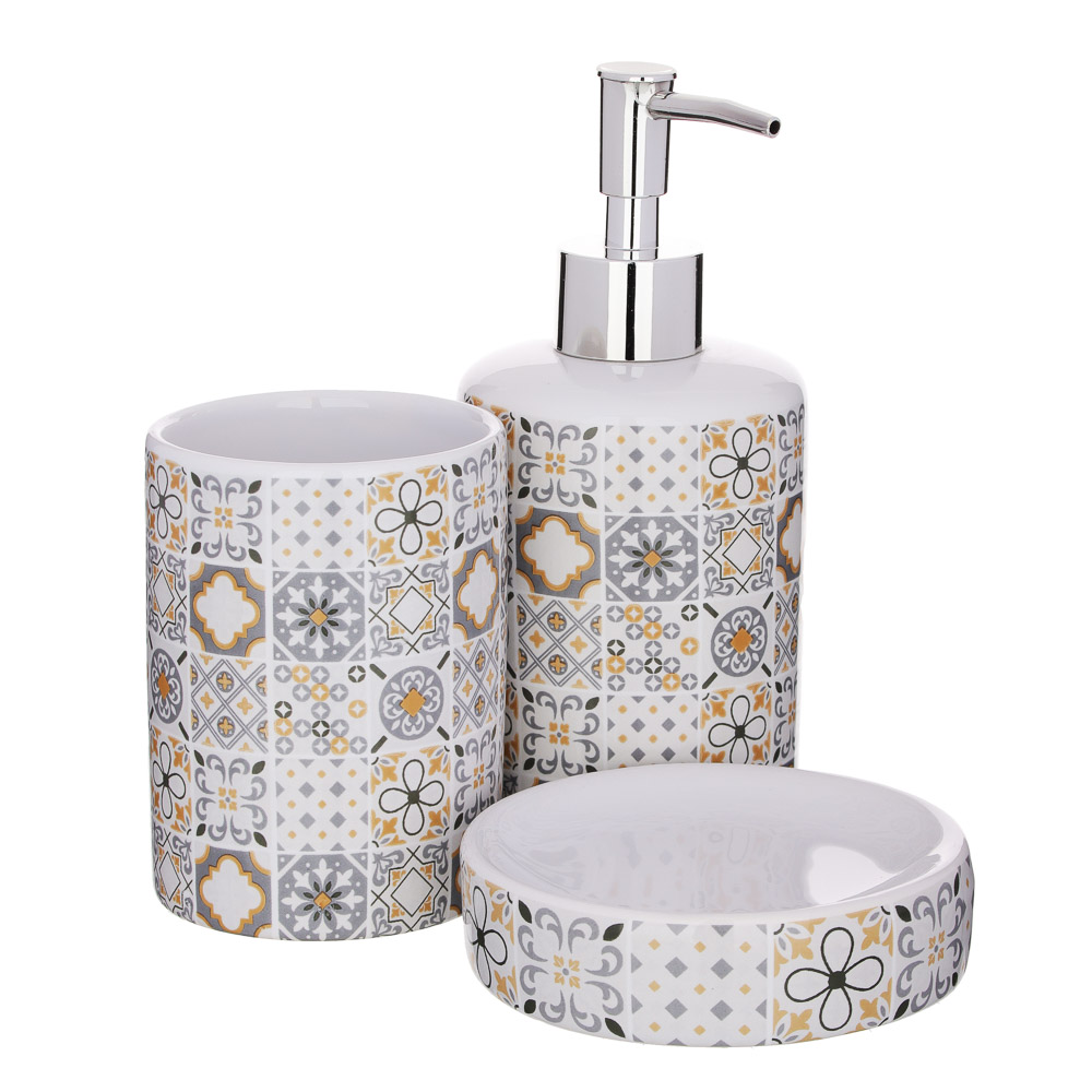 """VETTA Набор для ванной """"Мозаика"""", 3 предмета, керамика, 2 дизайна"""